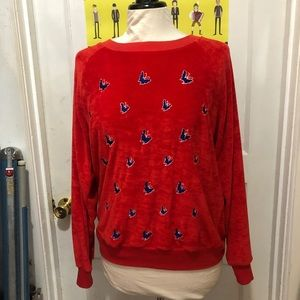 Vintage 60s/70s Red Velour Butterfly Sweatshirt